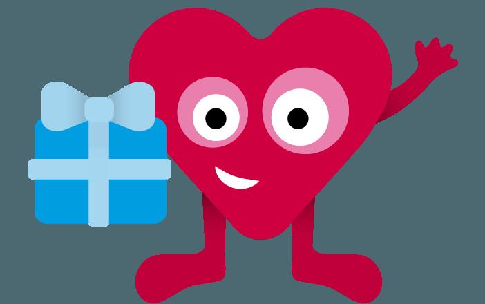 Hjärtrud, en av våra lärvänner (figurer) med ett paket