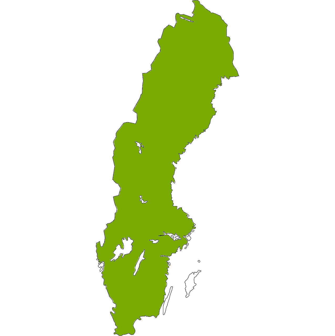 Sverigekarta i grönt