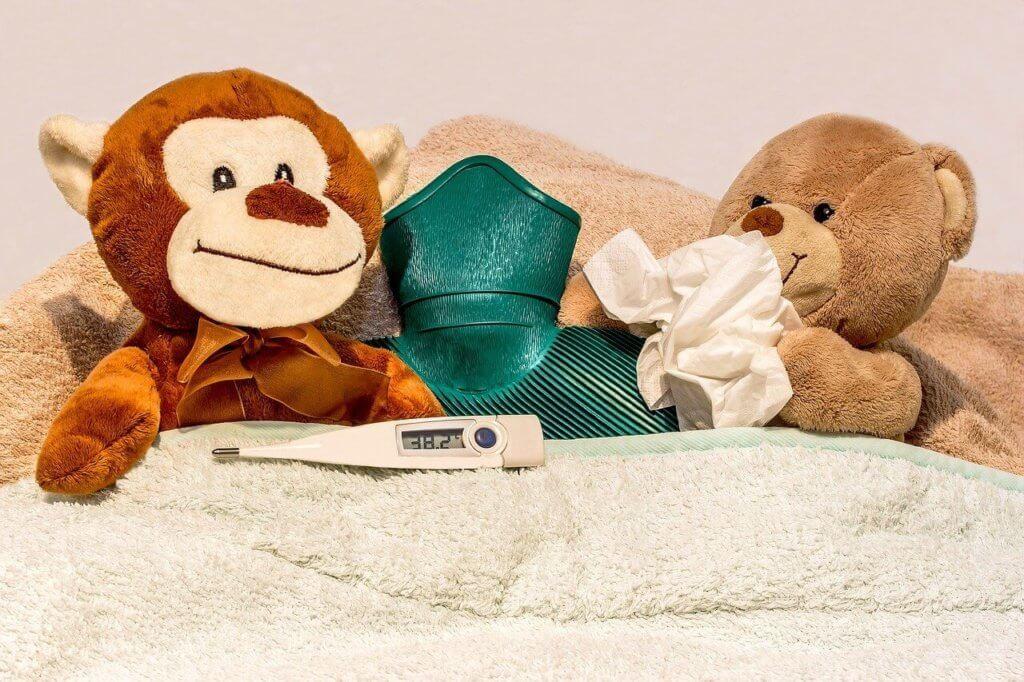 Två nallebjörnar och en termometerr, en näsduk och en värmeflaska.